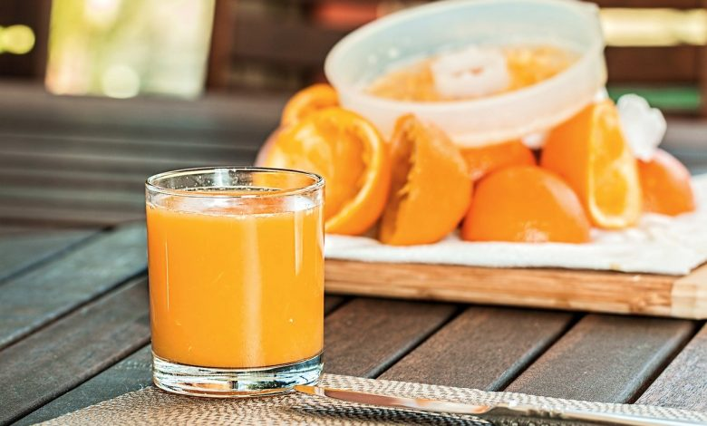 Fresh orange juice from a juicer