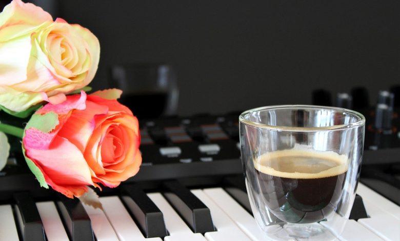 A Nespresso Crema on a piano