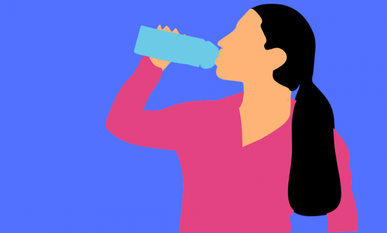 Illustration of a woman drinking from a water bottle